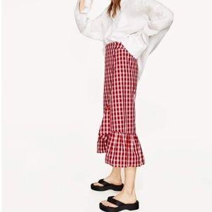 Zara Red/White Gingham Ruffle Skirt